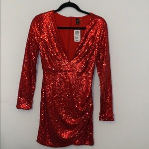 Red Sequins Low-Plunge Dress
